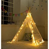 These Play Teepee Kid with Carrying Bag are made of 100% natural, non-toxic, unpainted cotton canvas. Only the best for your little boy or girl. This order includes 1 piece of 4 poles white LED teepee tent.