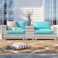 Create a space to sit back and soak up some sun beside a buddy with this three-piece patio set. Complete with one left armchair, one right armchair, and one end table with built-in cup holders, this set is perfect for petite patios and big backyards alike. Crafted with an aluminum frame, each UV-resistant piece is wrapped in resin wicker in a vanilla creme tone with woven details for a breezy and airy look. Foam-filled cushions with removable covers top each seat to provide 6