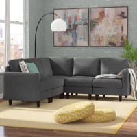 Whether hosting a viewing party for the big game or popping in your favorite flick for a movie night with the family, this sectional has got you covered. Crafted from a birch wood frame, it features block feet awash in a dark brown finish. Its 100% polyester upholstery boasts a solid color and is stain-resistant, so it can take on the occasional spill.