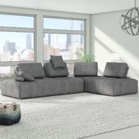 Perfect for teens who are constantly rearranging their room and updating their style, this configurable sectional can be arranged to fit their needs and distinctive space. This two-piece modular sectional sofa set showcases square-tufted, tight seats paired with movable backrests that are easy to move as desired. This sectional also includes two bolsters and knife-edge pillows that can be used as headrests or armrests!