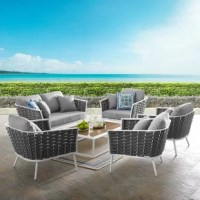 Gather family and friends for pleasant weather and good conversation with the stance outdoor. Boasting a contemporary modern look, stance featured woven polyester fabric rope seat back and flared powder-coated aluminum frame, slatted synthetic wood tabletops, and waterproof all-weather fabric cushions with plush, dense foam padding provide a relaxing spot to the lounge — a versatile set designed for long-lasting durability, each piece in the stance.