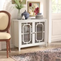 Viewable storage is the key with this Pembroke 2 Door Accent Cabinet. It features an open design fretwork, allowing anything stored to be viewed inside.