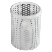 Strong, professional grade punched metal with decorative urban style slotted pattern. High quality satin finish complements any décor. Features protective feet to prevent surface wear and scratches on the desktop surface. Reinforced rounded edges provide durability and attractive detailing. Holds pens, pencils, markers, etc. and keeps them close at hand.