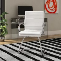 Strap in for a comfortable chair constructed in thick contoured faux leather. Built-in lumbar support assures relaxing support while seated. Beautiful chrome accents set the presentation for this faux leather guest chair.