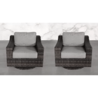 Complete your outdoor seating area in understated style with these swivel armchairs. They're built on a rust-resistant aluminum frame and feature sloping arms with a circular, swivelable base. These chairs are wrapped in UV- and weather-resistant resin wicker for a breezy aesthetic that looks good all year long. Upholstered in a durable synthetic, the seat and back cushions are filled with 5