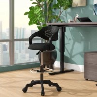 Energize your office decor with this Knopp Mesh Drafting Chair. This sturdy nylon frame drafting chair comes with a breathable mesh back which combines passive lumbar support and cooling comfort. Spiraling armrests imbue a creative vibe, while the densely padded mesh seat and adjustable foot ring keep you ergonomically supported. Complete with one-touch height adjustment, full 360-degree swivel and 5 dual-wheel casters for natural movement of either carpeted or hardwood surfaces, this is a...