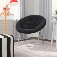 On-trend and on-budget, this round Papasan chair is perfect for sprucing up any unused corner in your home. Founded atop a metal frame that supports up to 225 lbs., this piece features a circular seat that's wrapped in polyester faux fur fabric for a textured and inviting look. Since you can easily fold this design for storage, it's an ideal option for a first apartment or your child's bedroom. No assembly is required.