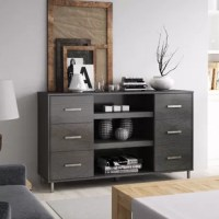 Get the chic style you want and the functional storage you need all in one piece in your living room with this TV Stand. Sleek, modern design is just the thing for a home refresh while ample cabinet storage and shelving offers you a place to stow media accessories, throw blankets, and other items in the living room that need a nook. If you're looking to breathe new light into your living room, get an instant style upgrade, opt for the version with electric fireplace and get a sleek TV stand...