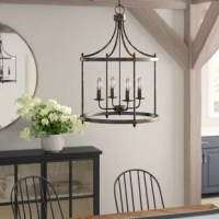 Greet guests with a warm and welcoming glow in the entryway or dress up your dining room for an upcoming dinner party with this eye-catching chandelier. Offering an antiqued appearance, its metal frame features a heavily distressed black finish. Inside, four candelabra-inspired lights are exposed to create an even gleam. Measures 28'' H x 19'' W x 19'' D overall. No assembly is required, but we recommend having a professional install this hardwired fixture.