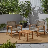 Break out a refreshing drink and enjoy a gorgeous sunset with a loved one on this cozy chair and side table set. This lovely Warford Outdoor 3 Piece Rattan Seating Group features beautiful, handwoven rattan seating that provides a classic, homey look for any patio or backyard. Featuring a two-seat arrangement, this set is a cozy accommodation that maintains a reliable structure with its naturally durable acacia wood frame. This weather-resistant material leaves less time for the hassle and more...