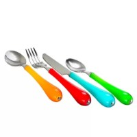 Fun and casual, these 24 Piece Flatware Set, Service for 6 combines quality and durability. The assorted colors will add a touch of playfulness to your everyday routine. These sets are perfect for all kitchens no matter the style. They are the perfect sets for indoor or outdoor.