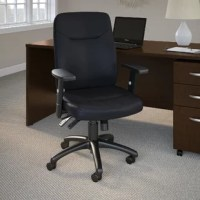 This Stanton High Back Multi-function Genuine Leather Executive Chair features a commercial-grade design with a wide range of adjustability for long-lasting comfort in any professional setting. Cushioned black bonded leather upholstery presents a straightforward sophisticated style that fits anywhere from an executive office to your own private study. Four easy-to-use levers instantly adjust the angle of the seat and back as well as the height and depth of the seat to enhance the comfort of any...