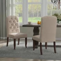 Elegantly sophisticated. You will be all set to host your next dinner party with these classic dining chairs. The timeless elegance of the 12 button tufted back and nailhead trim exudes modern sophistication, while the dark, solid wood legs provide long lasting durability and support. Dress up your dining room with this Side Chair.