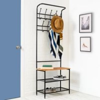 This handy entryway organizer includes two levels of coat hooks to hold hats, jackets, keys or coats. The steel wire bottom shelves hold several pairs of shoes or accessorize with small baskets for gloves or a dog leash. The wood storage bench is great for setting bags, purses, backpacks and more as you walk in the door.