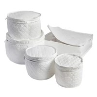 Your china dishware comes out once, maybe twice per year, but when it comes out, it's a special occasion. And when the time has passed, you want to ensure that dishware is safely stored til that next special occasion, so you store them in this 5-piece dinnerware storage set, with its cushioned cloth that protects your dinnerware and the ability to store several different types of pieces. This is ideal for a housewarming gift or bridal registry.