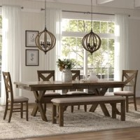 Looking to add an on-trend dining ensemble, but don't know where to begin? A set like this is a great option for rounding out your dining room with one piece. Featuring an extendable table, four chairs, and a bench, this dining set has everything you need to pull up to a meal in style. This set is crafted from a blend of manufactured and solid wood, while the chairs and bench feature a tan fabric upholstery for a soft touch. X-shaped accents on the seat backs and a trestle base add a...