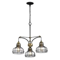 This stylish industrial chandelier features glass shades that are wrapped by a black metal cage. The combination of the black metal, the antique gold, and the wrapped wire give your space an industrial vibe. The three lights are in a triangular pattern and make this fixture perfect for kitchen and dining room spaces. The chain is adjustable and the fixture can be hung at a customized height.