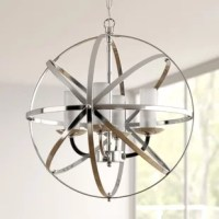 Brilliant and unique, this pendant light will add extra sophistication to your home. The globe design is crafted from crossing bands of metal. The chrome finish gives the lantern futuristic look, while the 4 lights inside add a classic touch. This striking lantern light will make a beautiful addition to your living room, dining room, or foyer. Requires four (4) x 60-watt E12 bulbs (not included). Line switch. This fixture does need to be hard-wired. Professional installation is recommended.