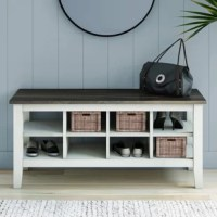 Make a good first impression as you welcome friends and family into your home with charming, coastal cottage design. This Storage Bench for your entryway offers the storage you need along with an uncompromising style. Whether you're stowing small sandals or tall boots, adjustable compartments make shelving your shoes, baskets, or decorative items convenient. Pair it with the matching console table to transform your foyer or combine it with the matching TV stand for a whole new living room.