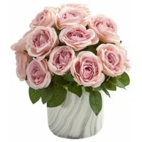 This Artificial Rose Floral Arrangements and Centerpieces in Vase will bring a beautiful, classy feel to any room you place it in. Multiple realistic, delicate-looking bloom is overflowing from the included marble finish vase. Place this classic arrangement on your kitchen counter next to your cookbook stand for a lovely finish.