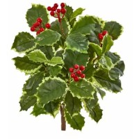 This Artificial Variegated Holly Leaf Bush Foliage Plant has real to the touch lush green leaves with several glossy red berries that stick out from the top. It'll make an excellent centerpiece for a formal dining room table when nestled in a round or square glass vase. Accent it with a marble bowl filled with real or artificial fruit for a complete look.