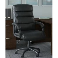 With a design focused on style and comfort, the Bush Business Furniture Soft Sense High Back Ergonomic Executive Chair offers a sophisticated seating solution for any professional environment. Cushioned black bonded leather upholstery provides exceptional comfort with an upscale appearance that looks right at home in a private office or open workspace. The high back design limits strain on the upper back, shoulders, and neck to reduce fatigue and improve productivity during a long workday....