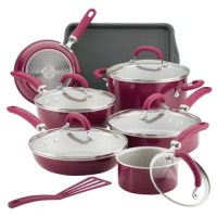 Radiant and solution-oriented, the Rachael Ray Create Delicious 13-Piece Aluminum Nonstick Cookware Set brings high performance and easy convenience to home chefs. Featuring vibrant, shimmering color combined with functionality, this collection of essential pots and pans by Rachael Ray is constructed of durable aluminum for even heat distribution to reduce hot spots. The cookware set features enhanced PlatinumShield Technology nonstick reinforced to be 9 times harder than titanium for...