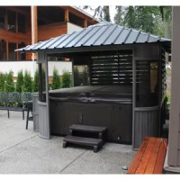 The Zento Alfresco is a synthetic wood gazebo designed to protect you and your spa from the elements while maintaining an open feeling. The gazebo includes 2 louver side windows for added privacy and a skylight to view the stars at night. Included with the gazebo is a bar with 4 stools which ensures that you will never be far from the action.
