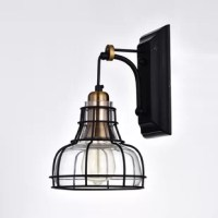 Embrace the industrial design movement with this Sealey Indoor 1-Light Armed Sconce. This stylish fixture features a glass shade that is wrapped by a black metal cage. Use the wall sconce to create various levels of lighting in your design plan.