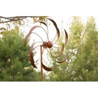 Add a touch of ambiance to your patio, lawn, or garden with the rotator. This durable, colorful spinner is made of metal to withstand the harshest wind conditions and last throughout all seasons. The rustic copper blades are a stylish and unique addition to your outdoor space. The spinner is the perfect portable decor for lining your driveway, walkways or planting beds to be easily seen and admired by passers-by.