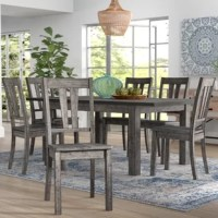Rustic and modern elements meet in this on-trend dining set, complete with one rectangular dining table with a removable 18