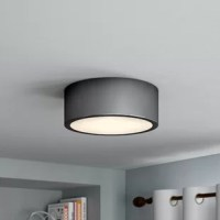 As much a work of art as a source of light, this one-light semi-flush mount brings airy yet industrial style to your teen's room. Its drum-shaped frame features a black finish with a white glass shade and includes one 18 W integrated LED light with warm white light and 3000 K color temperature to provide an ambient glow over their bedroom.