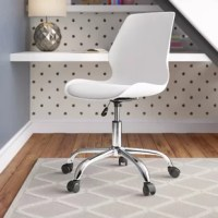 Ideal for workspaces or home offices, this chair with Wheels offers style, comfort, and convenience for any task. Made of molded polypropylene and PVC-free faux leather, it has a professional appearance with a mid-century modern flair. Use the easy-to-adjust gas lift to change the seat height. A chrome finish base with five caster wheels is stylish and provides excellent support. Durable nylon casters provide mobility whether you are rolling over to talk to a colleague or moving the chair down...
