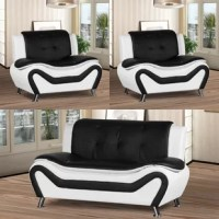 Looking to add a fresh look to your living room? It can be difficult to start from scratch, but with a set like this you can round out your seating ensemble with a sleek modern look. Including a loveseat and two armchairs, this three-piece set showcases an eye-catching design with sleek silhouettes and two-tone faux leather upholstery. These pieces are crafted from solid wood frames founded on angled metal feet, and feature foam filling with coil spring seat construction.