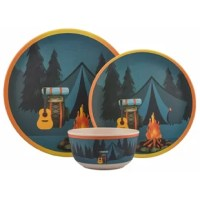 This dinnerware set is great for both indoor and outdoor use. The break-resistant design makes this a nice kid's dinnerware set and also makes it ideal for camping or for use in trailers.