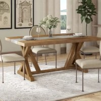 Dining tables are the center of attention in your dining area – they hold food and drinks during parties and everyone ends up sitting around them and talking. Don't let your table get the wrong kind of attention, upgrade your dining experience with this table. This rectangular table sits on a trestle base, and is crafted from solid pine and manufactured wood, with a concrete inlay – perfect for a traditional, rustic, or cottage aesthetic. Accommodating eight, it can be paired with your...