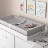 This Combo Pack with 4-Sided Changing Pad and Terry Cover has 2 high sides to keep baby safe, with box-end construction. Features a non-skid bottom that prevents the pad from sliding while changing baby. Quilted vinyl cover is waterproof, non-toxic, non-allergenic, is stain resistant and easy to keep clean with mild soap and water. Safety harness for baby with a quick-release buckle. Includes security strap for holding the changing pad to changing table or dresser top. A separate white or mint...