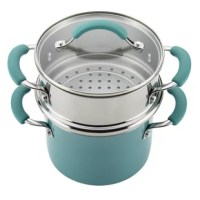 Give veggies and more the steam treatment with the handy Rachael Ray Cucina Hard Enamel Nonstick 3-Quart Covered Multi-Pot Set with Steamer. This convenient three-piece steamer set offers a fast and easy way to steam everything from garden-fresh veggies to plump, briny shrimp to piquant tamales and more. The saucepot features durable aluminum construction to promote fast, even heating while helping to reduce hot spots. The sturdy hard enamel steamer set exterior features warm, welcoming color...