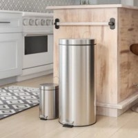 With this trash can set, thecontemporary stainless steelbrings a pop of style to any room. Let the large can set up shop in the kitchen, laundry room or basement while the 3L mans the garbage in the bathroom or office. Both cans feature a plastic inner trash bucket which is fully removable and allows for easy emptying and cleaning. And simply step down on thefoot pedals to open and close smoothly.