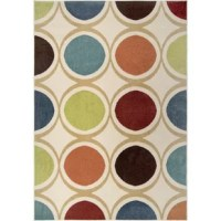 Lay a retro-inspired foundation for your space with this polka dot area rug that features over-sized circles in a variety of colors against an ivory background. Made in the USA, this area rug is woven from a stain- and a fade-resistant blend of 100% polypropylene in a medium 0.5