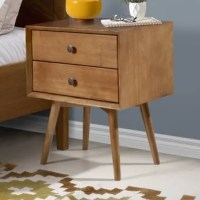 Looking for a side table that won't weigh down your space? This mid-century modern nightstand made of beautifully stained pine and antique-finished metal hardware could be the one for you. With beveled front details, two-drawer storage, and its solid wood make-up, this piece is a triple threat of character, function, and durability. Made of wood responsibly harvested from renewable forests, this eco-friendly nightstand will allow your environmental conscience to sleep easier. Plus, assembly...