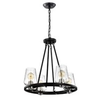 Inspired by the classic modern farmhouse style, this circular chandelier is the perfect blend of rustic and clean lines. Black and brushed nickel hardware create a perfect contrast for this stylish light. The four bulbs are encased by beautiful seeded glass sconces that enhance the design of this fixture.
