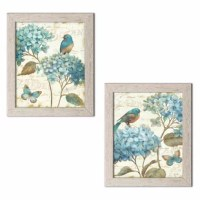 This 'Gorgeous Teal and Cream Watercolor-Style Hydrangea Florals, Birds and Butterfly' Framed Graphic Art Print Set make a great addition to any home. Printed as digital prints and framed using high-quality molding. Ready to hang!