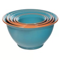 Whether you're whisking eggs for a veggie omelet or whipping up banana bread batter, this 5 Piece Terracotta Mixing Bowl Set is a must for your kitchen arsenal. Taking on traditional round silhouettes, each bowl is crafted from terracotta and showcases a glossy glaze with a distressed rim for a rustic twist.