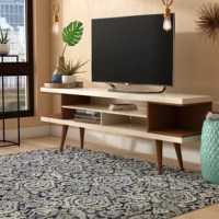This TV Stand with Splayed Wooden Legs and 4 Shelves melds quality craftsmanship, brilliant design, and modern functionality to create a seamlessly streamlined and free-standing entertainment center. Statement legs and corner open storage sections bring character to space, while three airy shelves are perfect for storing all of your entertainment accessories.