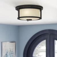 This contemporary flush mount adds sophistication to home decor. The beautifully appointed fixture is perfectly paired with matte opal glass shades in this 2 light flush mount.