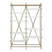 PSA: the Yves Metal Bookcase Étagère is coming in hot. This arty, modern bookcase gets you organized in style with crisp, lustrous white adjustable shelving framed in gold metal and a decorative X back panel. Tall and handsome, this substantial piece is perf for staging prized possessions, accent pieces, along with all of your trophies. Yves is the game-changing bookcase you need to give your living room or home office a fierce makeover.