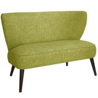 The Hartselle Armless Chaise is a perfect introduction to the mid-century style, this loveseat is satisfyingly simple in a sleek armless silhouette. Features a curved backrest and comfortably cushioned seat, graciously finished with slim angled legs and hand-upholstered in a choice of room-defining fabrics.