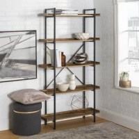 This 5-shelf urban pipe bookcase is perfect for a trendy, industrial-chic look. With a durable metal frame and a sleek wood grain finish made from high-grade manufactured wood, this piece is reliable to hold all of your books, trinkets, and collectibles, while complementing any home office, hallway, living room, or bedroom.