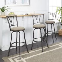Curate your eat-in kitchen, rec room or home entertainment space with this Silverstein Adjustable Height Swivel Bar Stool. Crafted of steel, It offers more than just a sturdy place to sit. The transitional design adds a timeless sophistication and modern detail to your kitchen island or table. Adjustable legs increase the longevity of use by allowing you to customize these pub height stools to fit your space. The metal back displays a modern decorative design that pulls the look of your kitchen...